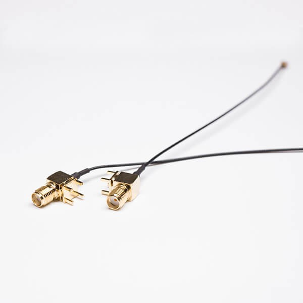 SMA线焊接黑色同轴线接RF 1.1IPEX一代接头(SMA弯头穿孔接PCB)