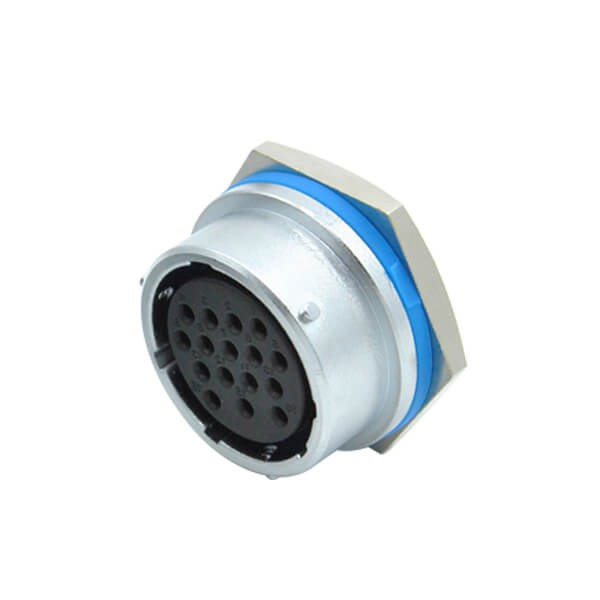 16芯航空插座母圆形防水工业RA28后锁安装连接器
