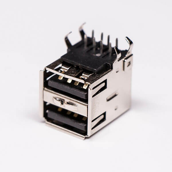 usb2.0双层母座母头弯式黑色胶芯