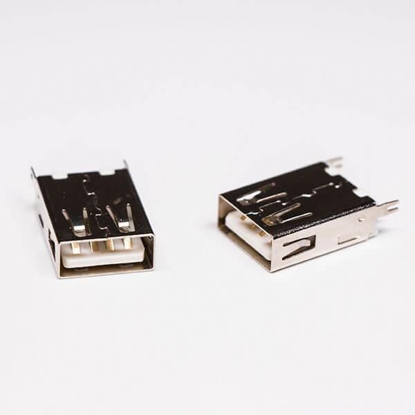 USB2.0插座直式母头卡板式连接器
