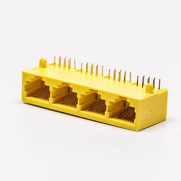 1*4全塑rj45黄色4口90°无灯不带屏蔽母座