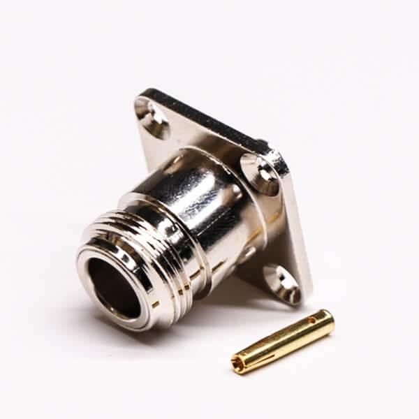 法兰N型射频接头rf直式母头四孔法兰焊接式