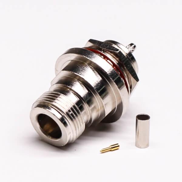 n型同轴连接器直式180度穿墙公头公针压接式接线