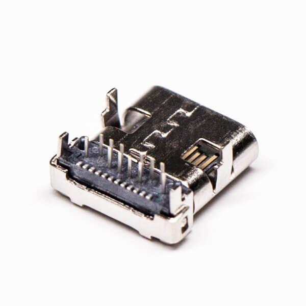 type-c母座连接器usb弯式插板贴板接PCB板