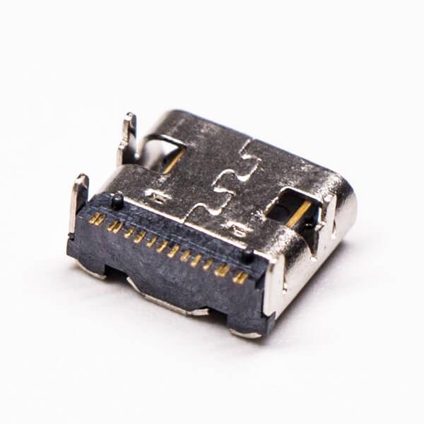 usb type-c接口弯式90度单排smt接PCB板