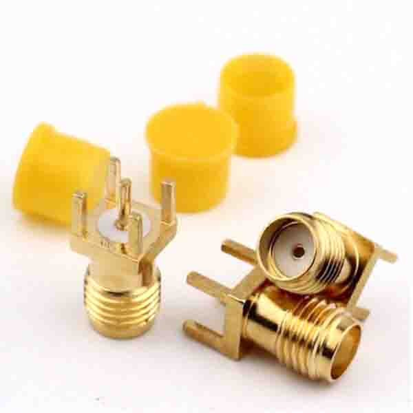 SMA Female For PCB Straight Type Though Hole Connector with Cap